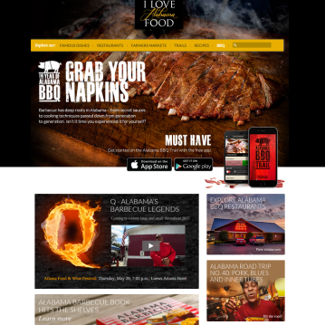 Landing page on ilovealabamafood.com